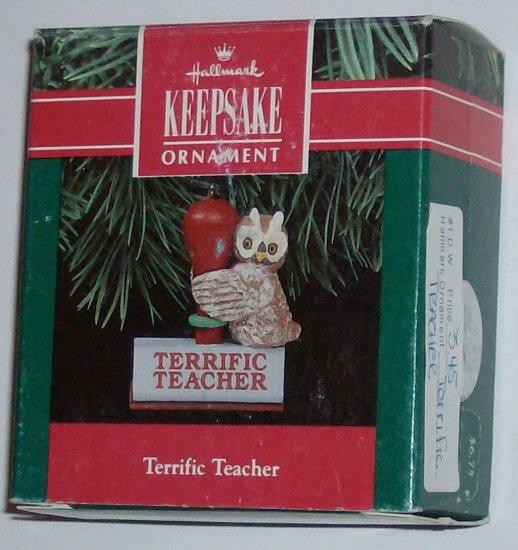 Hallmark Ornament Terrific Teacher '91 Owl Rubber Stamp