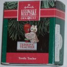 Hallmark Ornament Terrific Teacher '91 Owl Rubber Stamp
