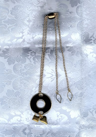 PRICES SLASHED-UNSIGNED BEAUTY BLACK ENAMEL GOLDTONE NECKLACE