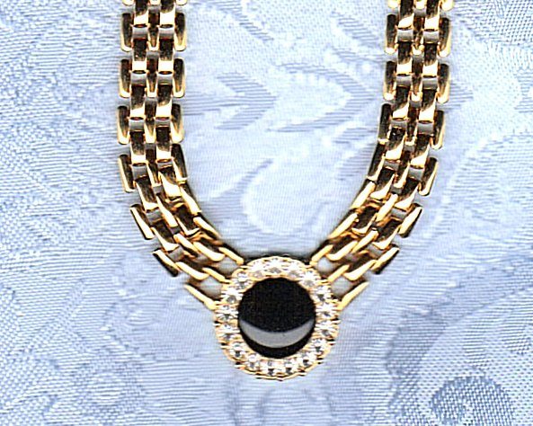 UNSIGNED BEAUTY ENAMEL AND CZ NECKLACE