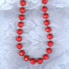 PRICES SLASHED-RED FACETED EARLY PLASTIC VNTG SINGLE STRAND NECKLACE