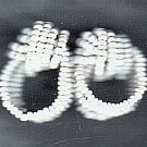 PRICES SLASHED-ACCESSOCRAFT WHITE SEED BEAD EARRINGS