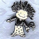 PRICES SLASHED-VINTAGE BLACK AND WHITE GIRL FIGURAL PIN BROOCH