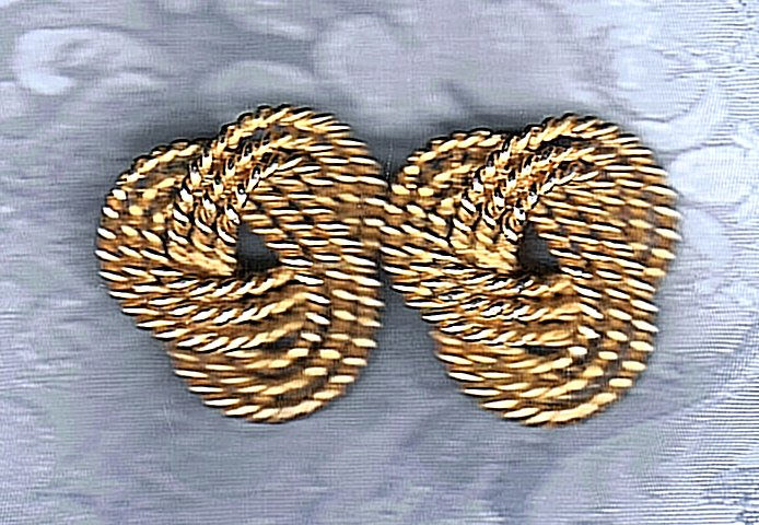 PRICES SLASHED-VINTAGE TRIPLE ROPE TWINING GOLDTONE EARRINGS