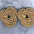 PRICES SLASHED-VINTAGE TRIPLE ROPE TWINING GOLDTONE EARRINGS