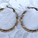 PRICES SLASHED-UNSIGNED BEAUTY VINTAGE SILVERTONE ROPE TWIST EARRINGS