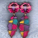 PRICES SLASHED-UNSIGNED BEAUTY VINTAGE PLASTIC MULTICOLOR EARRINGS