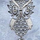 PRICES SLASHED-OWL FIGURAL PENDANT VINTAGE SILVERTONEWITH  RHINESTONES