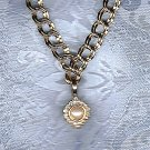 PRICES SLASHED-MARVELLA DESIGNER SIGNED FAUX PEARL RHINESTONE NECKLACE