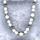PRICES SLASHED-VINTAGE WHITE AND SILVERTONE BEAD NECKLACE