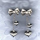 PRICES SLASHED-VINTAGE HEART & BOW THEME STUD EARRINGS