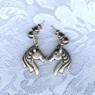PRICES SLASHED-DESIGNER SIGNED HORSE HEAD VINTAGE POST EARRINGS