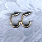 PRICES SLASHED-VINTAGE BITONE GOLDTONE SILVERTONE POST EARRINGS