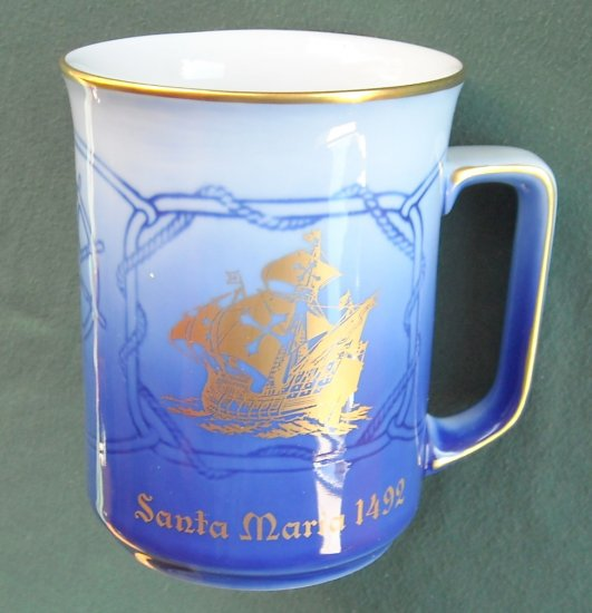 Danish Bing Grondahl Copenhagen Blue Mug Santa Maria 1978 First Edition