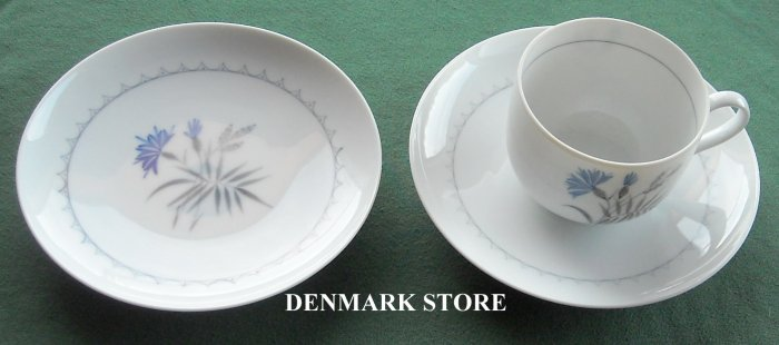 Bing & Grondahl Copenhagen Cornflower Cup Saucer Dessert Plate Set