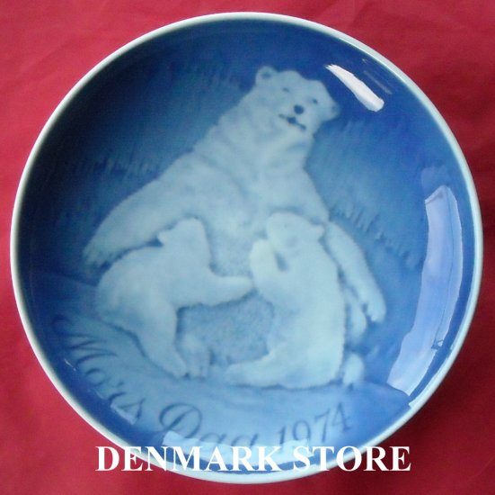 Danish Bing & Grondahl Copenhagen Mothers Day Plate POLAR BEAR 1974