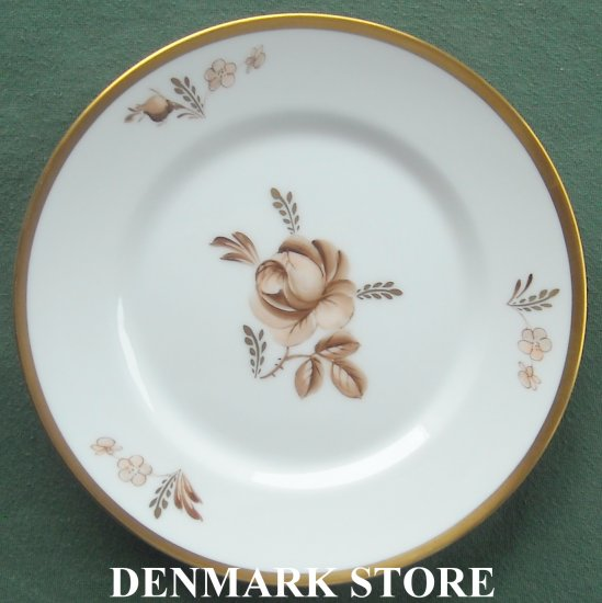 Royal Copenhagen Denmark 688 Brown Rose Bread Butter Plate