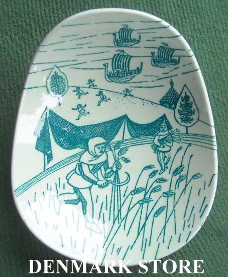 Danish Poul Høyrup Nymølle small viking plate dish green