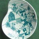 Danish Poul Høyrup Nymølle art fajance small viking plate dish green