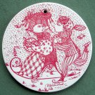 Danish Bjorn Wiinblad Nymolle January wall plate red