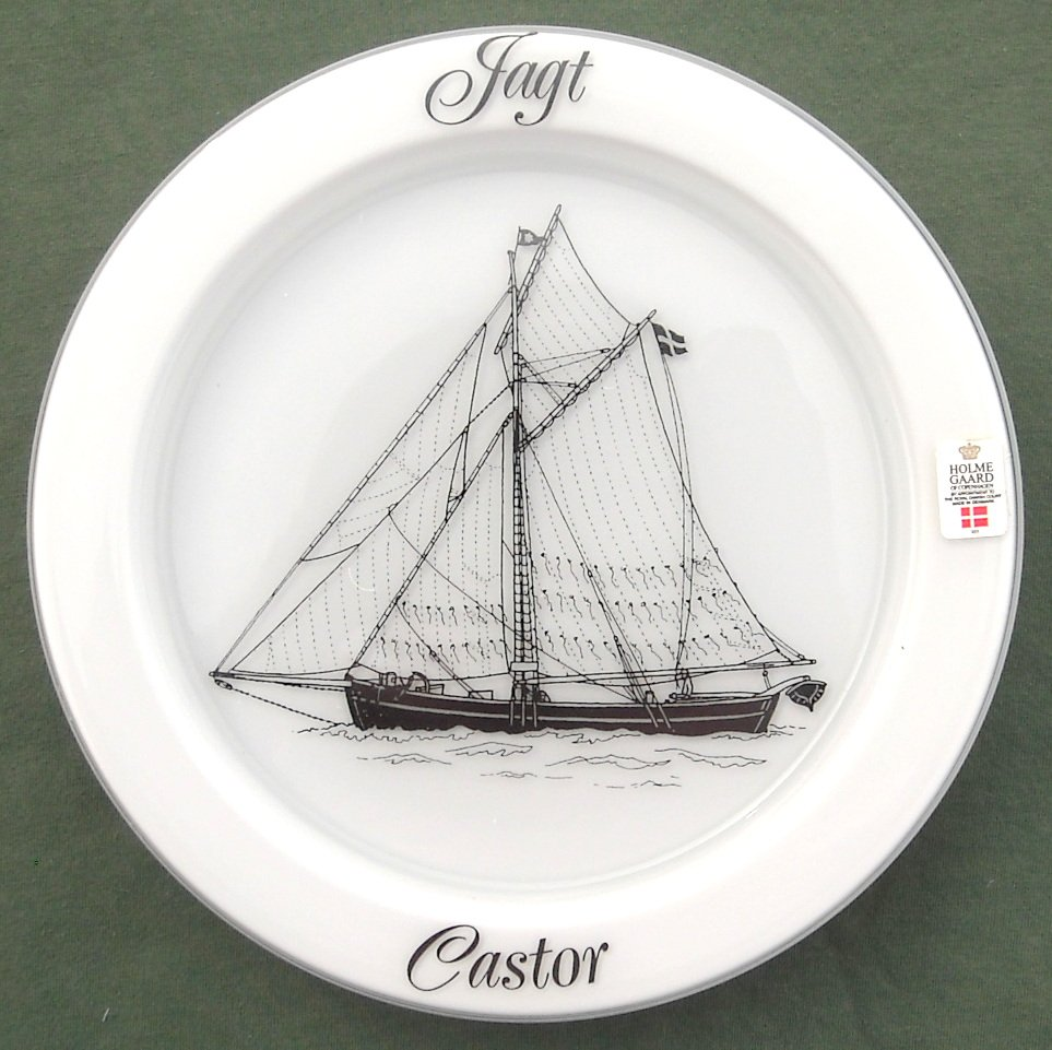 Ships Plate Holmegaard Copenhagen Milk Glass Yacht Castor 1982