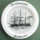 Milk Glass Ships Plate Holmegaard Copenhagen Hvidbjornen 1979
