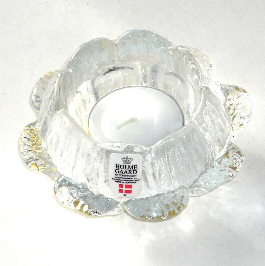 Holmegaard Danish Royal Copenhagen Water Lily Votive Candle Holder