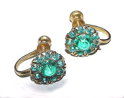 Vintage 1930s Art Deco Vermeil Sterling Blue Topaz-Colored Glass Earrings - Free USA Shipping