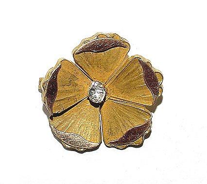 Antique Victorian Elegant Two Color Gold Filled Flower Brooch