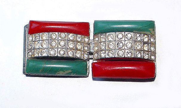 Antique Art Deco Red and Green Celluloid and Rhinestones Belt Buckle - Free USA Shipping