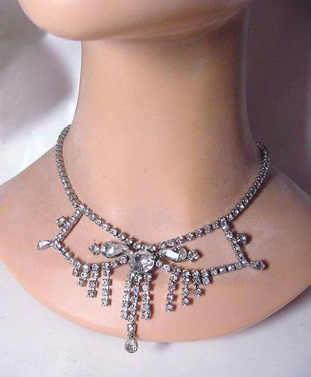 Fringed Vintage 1950s Festoon Rhinestone Necklace - Free USA Shipping
