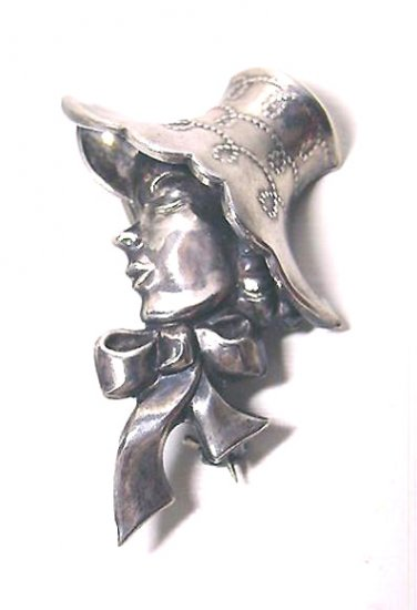 Signed Lang Figural Sterling Brooch, Lady In Bonnet, !950s Vintage