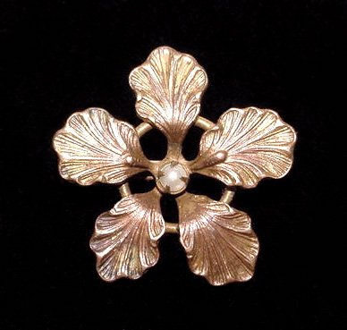 Antique Art Nouveau Single Flower Brooch