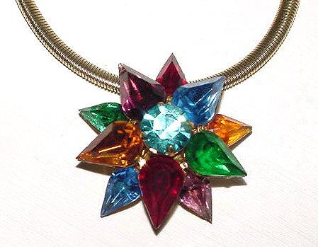 1930s Signed Coro Multicolor Starburst Pendant