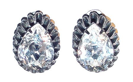 Signed Hattie Carnegie Large Pear Rhinestone Earrings