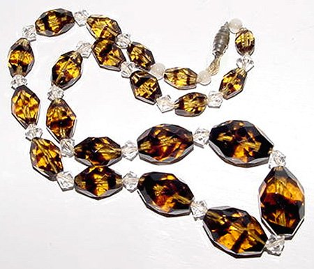 Antique 1920s Tiger Striped Art Deco Crystal Beads - Free USA Shipping