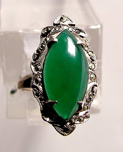 Art Deco Green Agate and Marcasites Sterling Ring