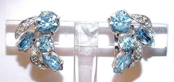 Vintage Eisenberg Ice Blue Rhinestone Clip Earrings
