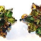 Signed c1960 Marvella Cascading Aurora Borealis Clip Earrings