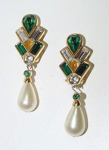 Signed Swarovski Pre-1988 Large Pearl Dangle Earrings - Free USA Shipping