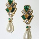 Signed Swarovski Pre-1988 Large Pearl Dangle Earrings - Free USA Shipping