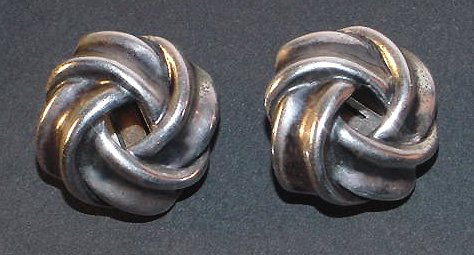 Early Signed Napier Sterling Love Knot Clip Earrings