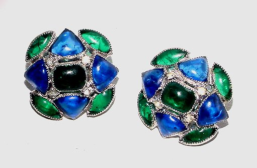 Signed Vendome Poured Glass Cabochon Vintage 1960 Earrings