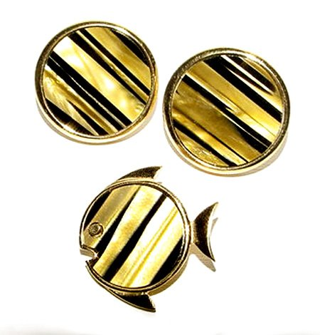 Signed Vintage Trifari Tiger Eye Fish Set