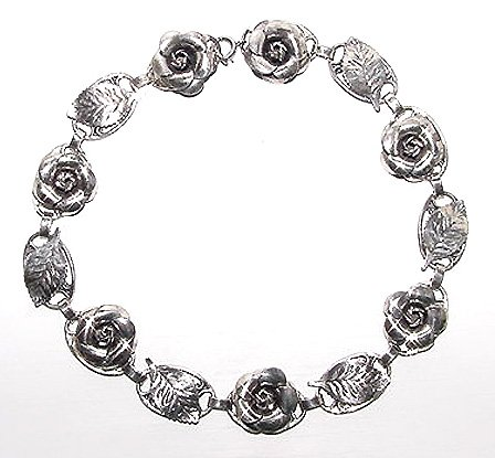 Vintage 1940s Sterling Roses Necklace & Earrings Signed Lang
