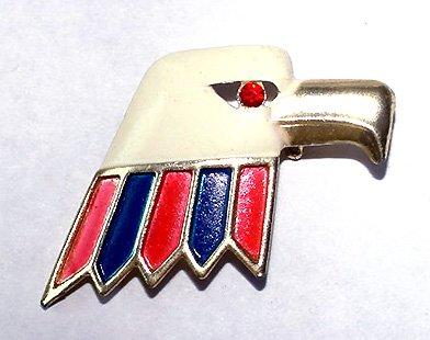1960s Patriotic Enamel Bald Eagle Brooch - Free USA Shipping