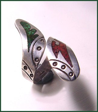 Jimmie Patterson Turquoise and Coral Navajo Ring