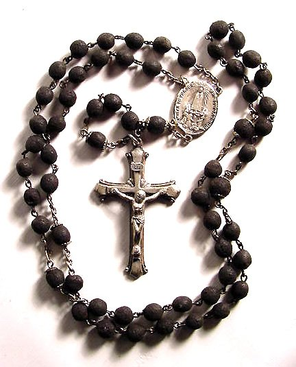 Carved Lava Beads and Sterling Rosary