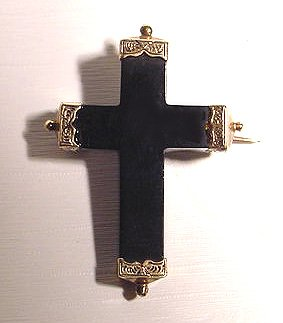 14k Victorian Black Jet Cross Mourning Brooch - Sold