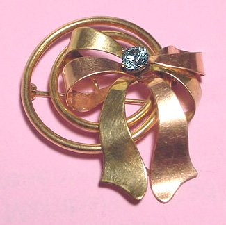 Signed Pink, Green and Yellow Gold Retro Bow Brooch